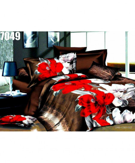 3D Chocolate Floral Stylish Cotton Bedsheet BS-7049