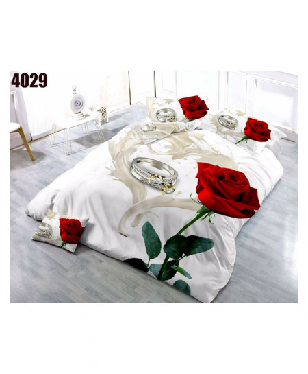 3D Off White Floral Stylish Cotton Bedsheet BS-4029