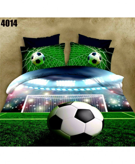 3D Soccer Ground Floral Stylish Cotton Bedsheet BS-4014