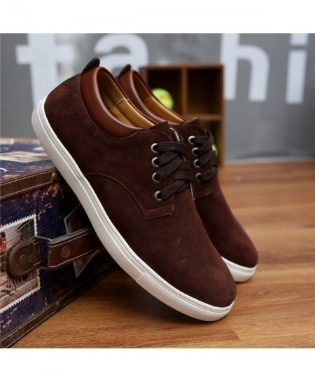 Choco Brown Breathable Suede Canvas Leather Shoes
