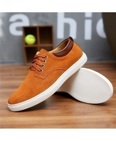 Camel Brown Breathable Suede Canvas Leather Shoes