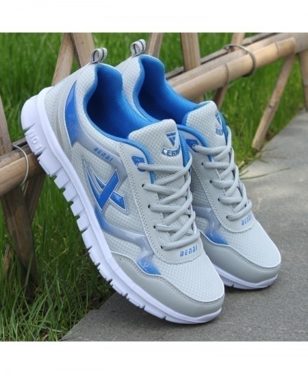 White Blue Breathable Mesh Sports Shoes