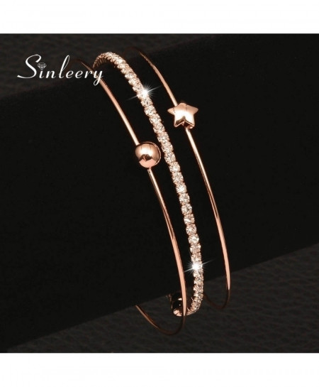 SINLEERY Rose Gold 3 Layer Bracelet