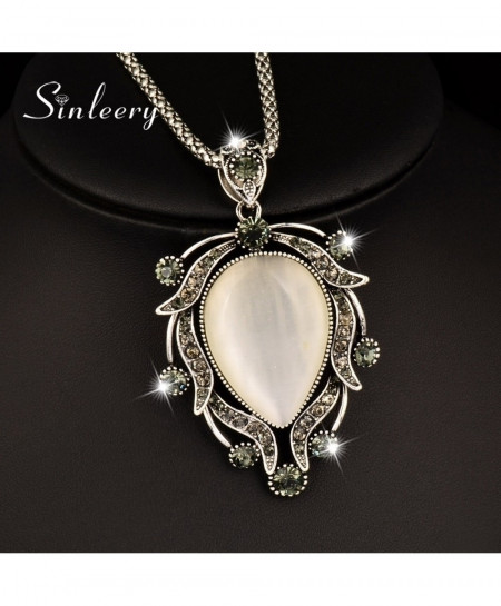 SINLEERY Silver Big Opal Pendant Long Chain Necklace