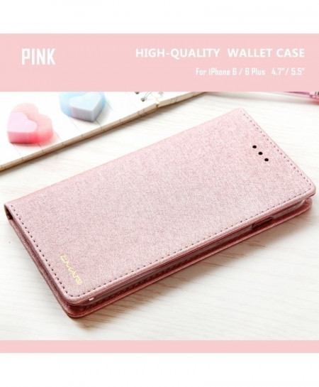 Pink Silk Leather Wallet Case