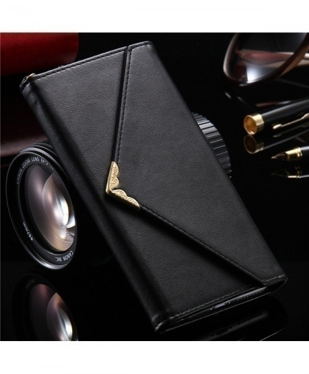 KISSCASE Black PU Leather iPhone Case Wallet