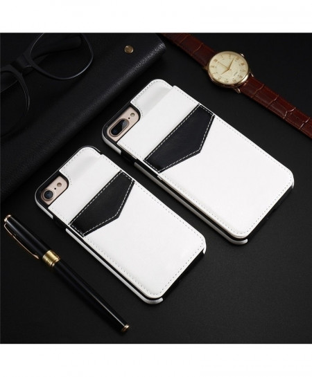 KISSCASE White Vertical Flip Card Holder Leather Case Wallet