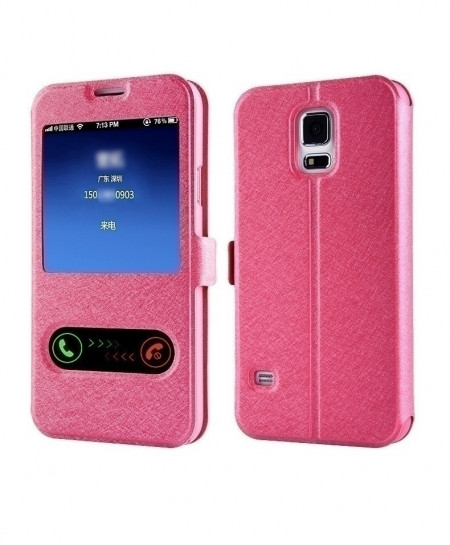 Pink Smart Front Window View Leather Flip Case