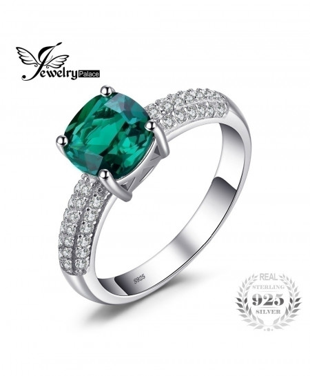 JewelryPalace Emerald 925 Sterling Silver Ring