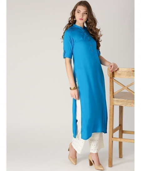 Blue Shoulder Pleated Style Ladies Kurti ALK-876