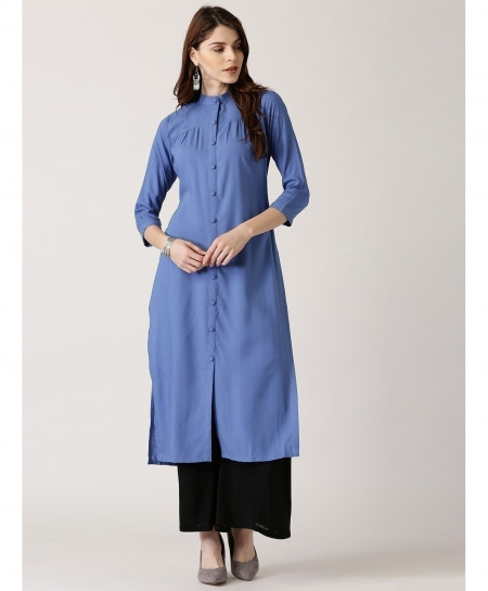 Slate Blue Button Pleated Style Ladies Kurti ALK-873