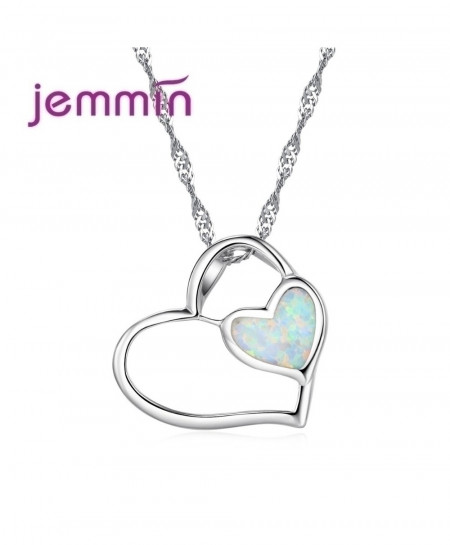 Jemmin Romantic White Opal Heart Necklace