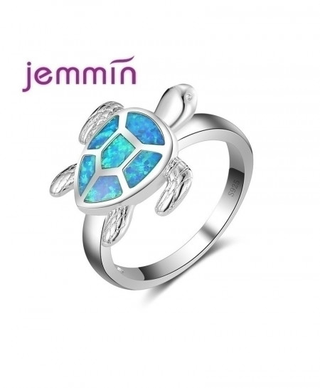 Jemmin Cute Sea Turtle Shaped Ocean Blue Opal Ring For Women