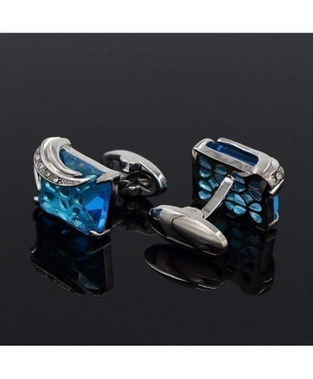 Austria Silver Blue Crystal Design CuffLinks