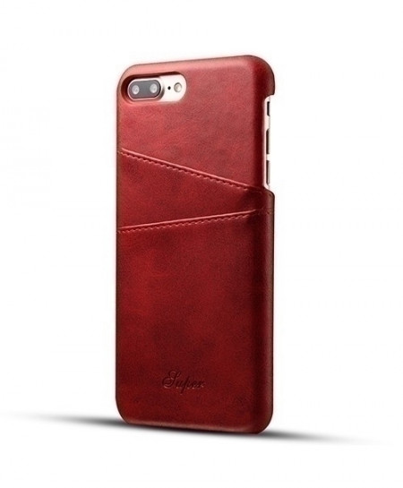 Red PU Leather Card Holder Back Cover Wallet Case