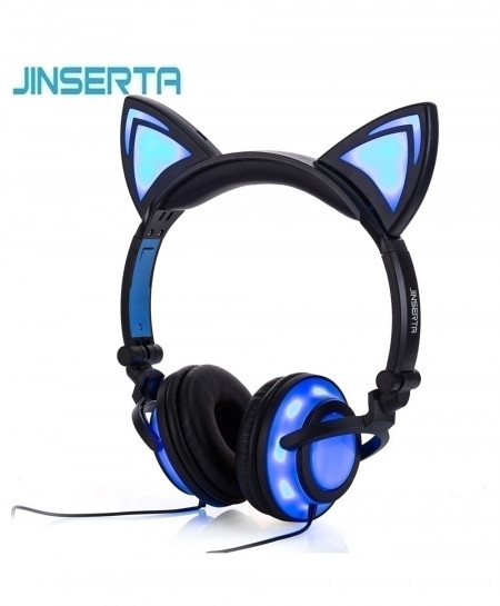 JINSERTA Cat Ear LED Flashing Glowing Headphone