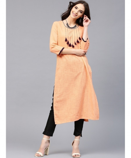 Peach Neck Laces Style Ladies Kurti ALK-880