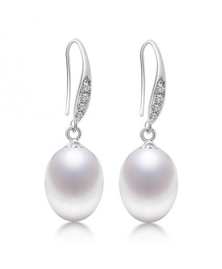 DAIMI 9-10mm White Genuine Natural Pearl Earrings