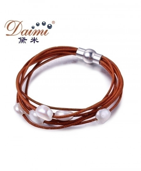 DAIMI 9-10mm White Natural Baroque Pearl Bracelet