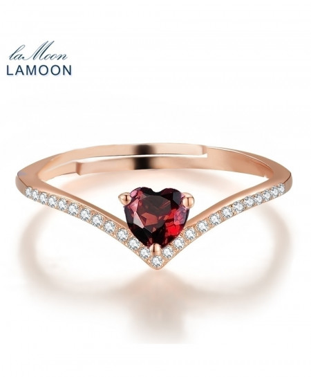 LAMOON Red Garnet 925 Sterling Silver Heart Love Ring