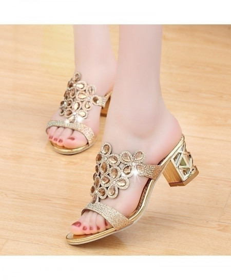 Golden Designer High Heels Sandals
