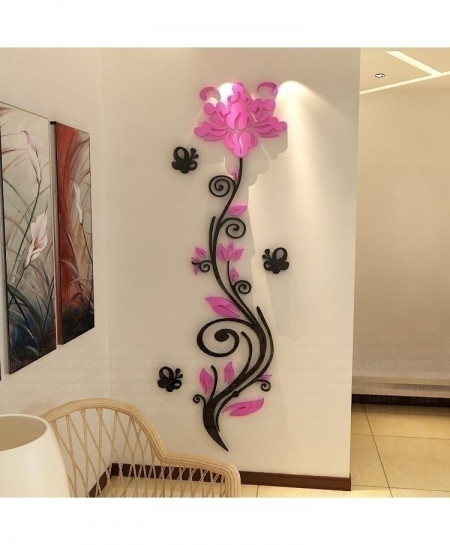 Pink 3d Rose Vine Crystal Acrylic 140x50cm Wall Sticker