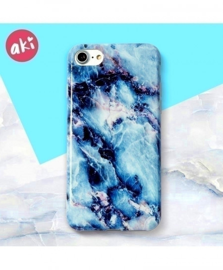 Blue AKI Marble Phone Glossy Soft Cover