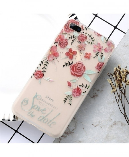KISSCASE Red Roses Floral Patterned Soft Silicone Cover