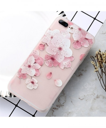 KISSCASE Pink Floral Patterned Soft Silicone Cover