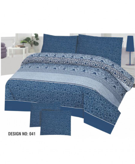 Blue Floral Cotton Bedsheet PBS-D-041