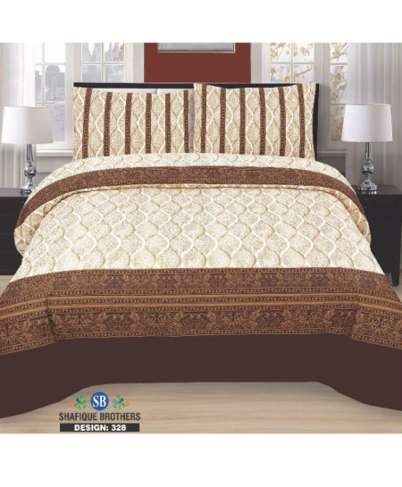 Brown Floral Cotton Bedsheet PBS-SB-328