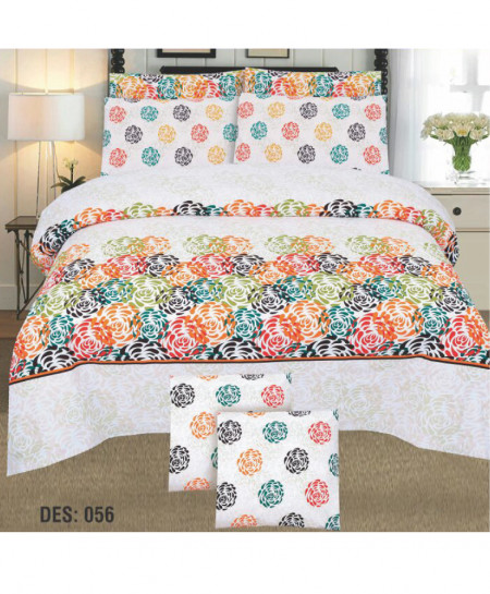 White MultiColor Floral Cotton Bedsheet PBS-D-056