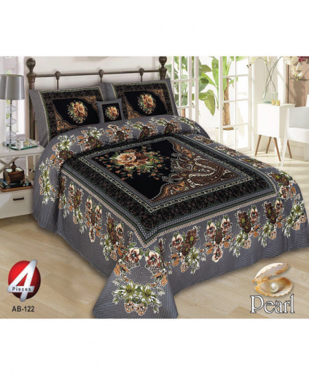 Black Floral Pearl Cotton Bedsheet PBS-AB-122