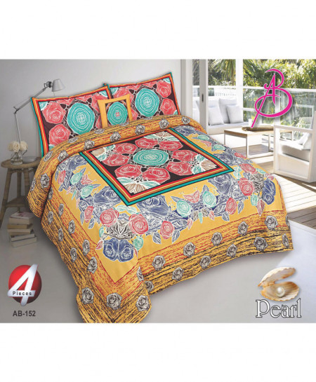 Yellow Floral Pearl Cotton Bedsheet PBS-AB-152