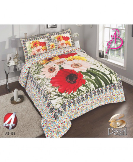 White Floral Pearl Cotton Bedsheet PBS-AB-153