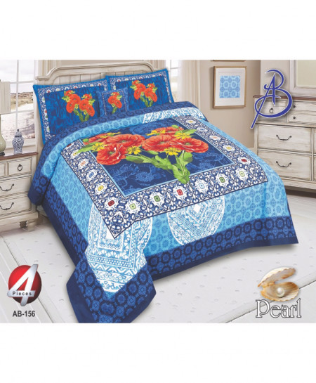 Blue Floral Pearl Cotton Bedsheet PBS-AB-156