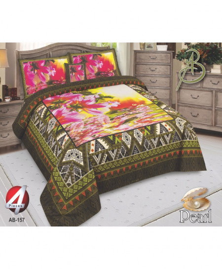 Green Floral Pearl Cotton Bedsheet PBS-AB-157