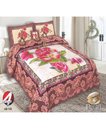Pink Floral Pearl Cotton Bedsheet PBS-AB-158