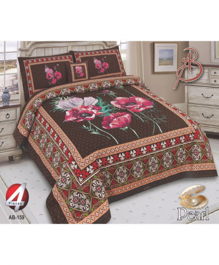 Brown Floral Pearl Cotton Bedsheet PBS-AB-159
