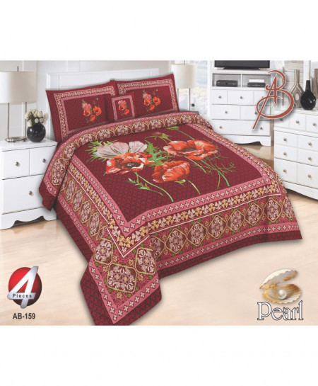 Dark Pink Floral Pearl Cotton Bedsheet PBS-AB-159