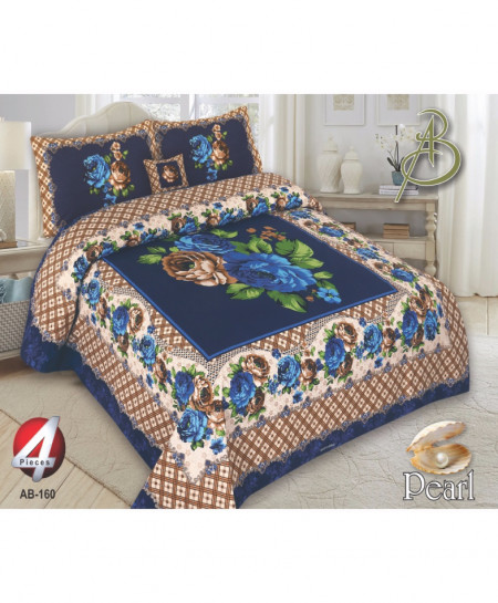 Blue Floral Pearl Cotton Bedsheet PBS-AB-160