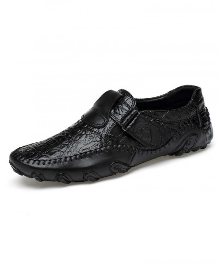 Black British Style Leather Slip On Breathable Loafers