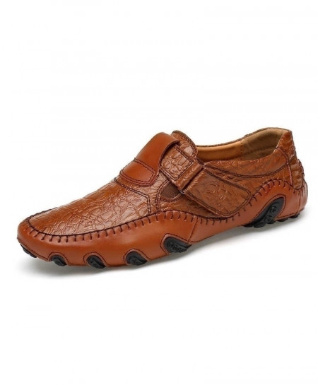 Brown British Style Leather Slip On Breathable Loafers