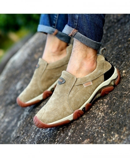 Khaki Leather Non Slip Casual Shoes
