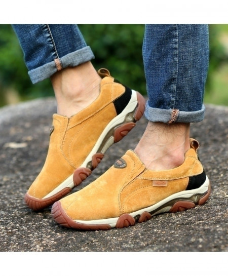 Yellow Leather Non Slip Casual Shoes