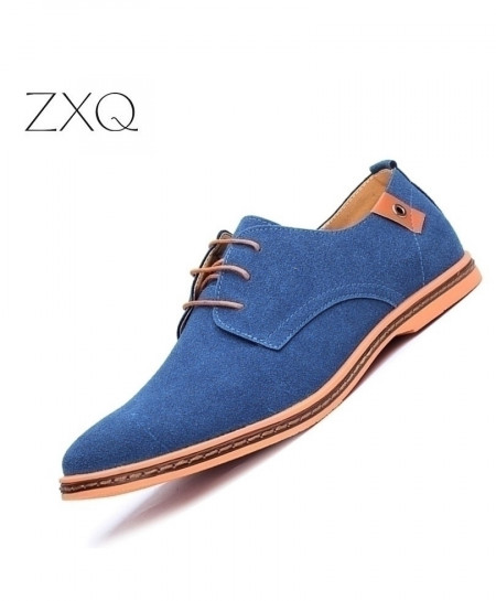 Blue Handmade Soft Leather Flat Casual Shoes