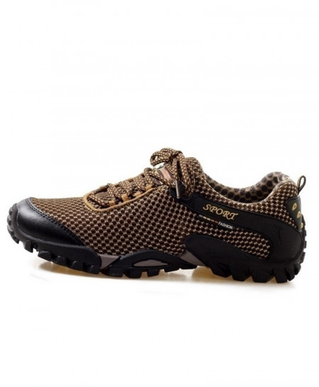 Brown Mesh Anti-Kkid Running Shoes
