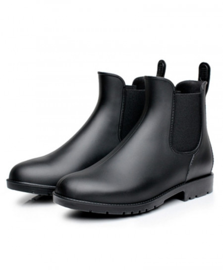 Black Chelsea Rubber Rain Boots Waterproof Ankle Boots