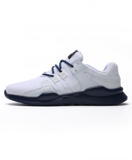 White Blue Running Leather Ankle Sport Shoes