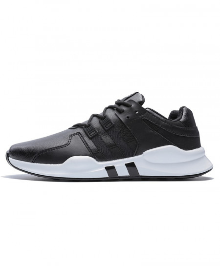 Black White Running Leather Ankle Sport Shoes